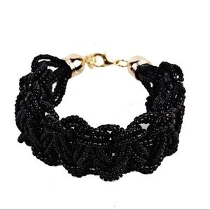 Black Sea Bead Woven Bracelet